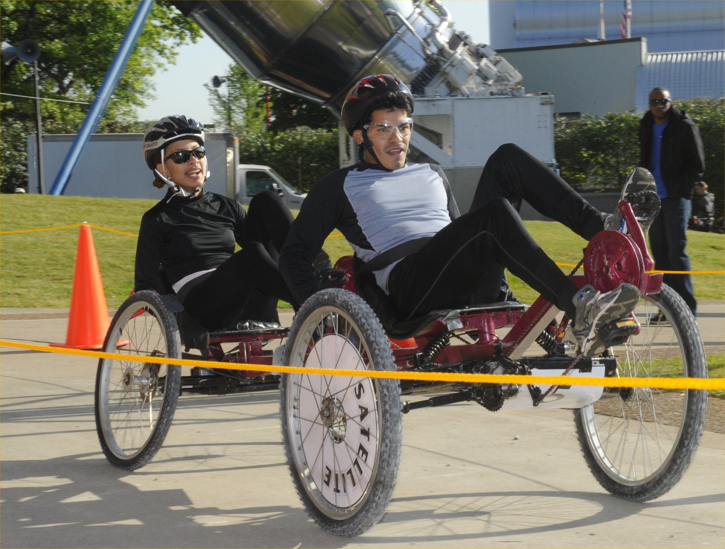 The University of Puerto Rico at Humacao won second place in the college division of the 19th Annual NASA Great Moonbuggy Race, finishing the course with a time of 4 minutes and 12 seconds. Credit: NASA/MSFC/Emmett Given