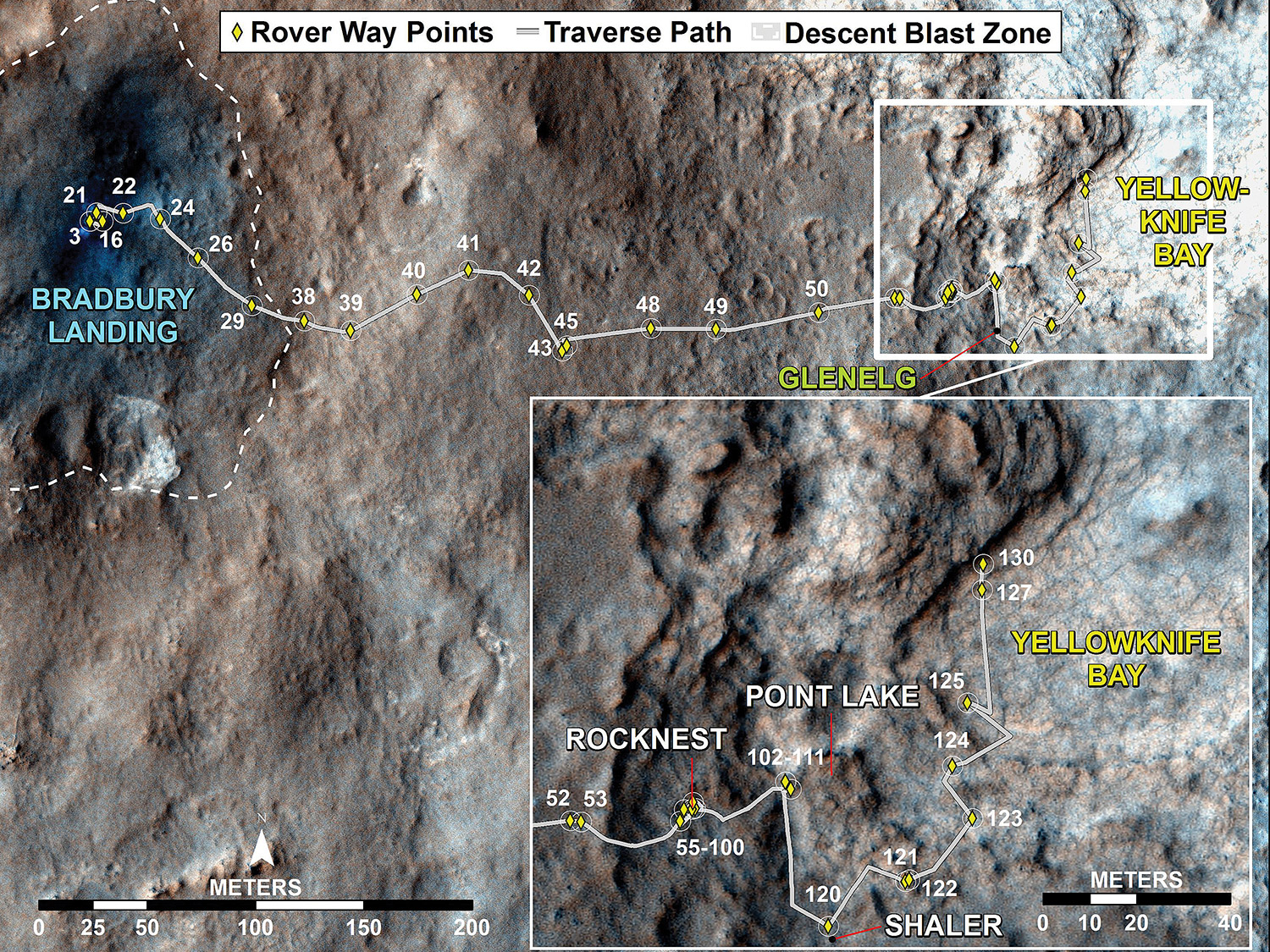 Sol 130 Curiosity Traverse Map. This map traces where Curiosity drove between landing at Bradbury Landing, and the position reached during Sol 130 (Dec. 17, 2012) at Yellowknife Bay which is inside an area called Glenelg. The inset shows the most recent legs of the traverse in greater detail. Credit: NASA/JPL-Caltech/ Univ. of Arizona