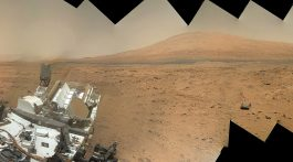 Curiosity snaps a self portrait with Mount Sharp in the background at Rocknest ripple in Gale Crater on Sol 85 using the Mars Hand Lens Imager (MAHLI) camera on the robotic arm. This color mosaic was assembled from raw images taken Nov. 1, 2012.Credit: NASA/JPL-Caltech/MSSS/Ken Kremer/Marco Di Lorenzo