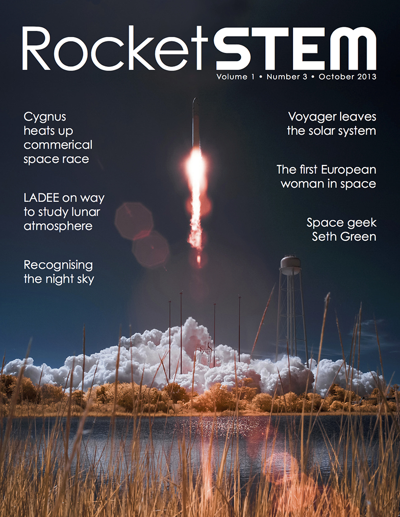 Front cover of the October 2013 issue of RocketSTEM magazine, a free digital publication.