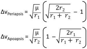 Delta V Equations