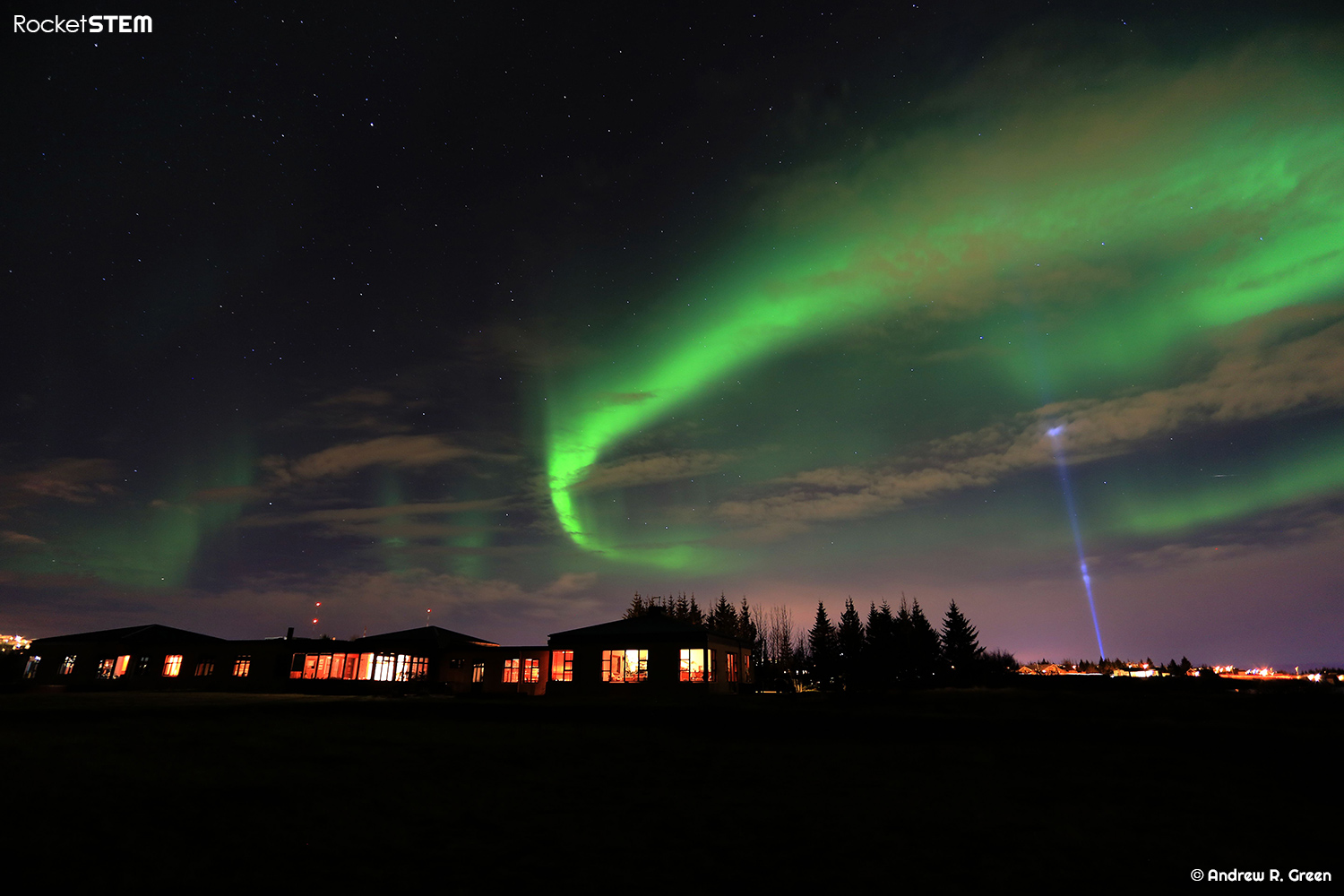 Aurora Borealis as seen in the skies above a hotel near Reykjavik, Iceland. Photo: Andrew Green