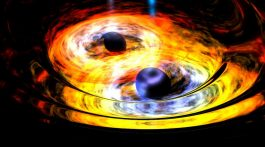 Two black holes are entwined in a gravitational tango in this artist's conception. Credit: NASA