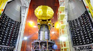 India's Mars Orbiter Mission spacecraft is attached to the fourth stage of PSLV-C25 and readied for heat shield closure. Photo: ISRO