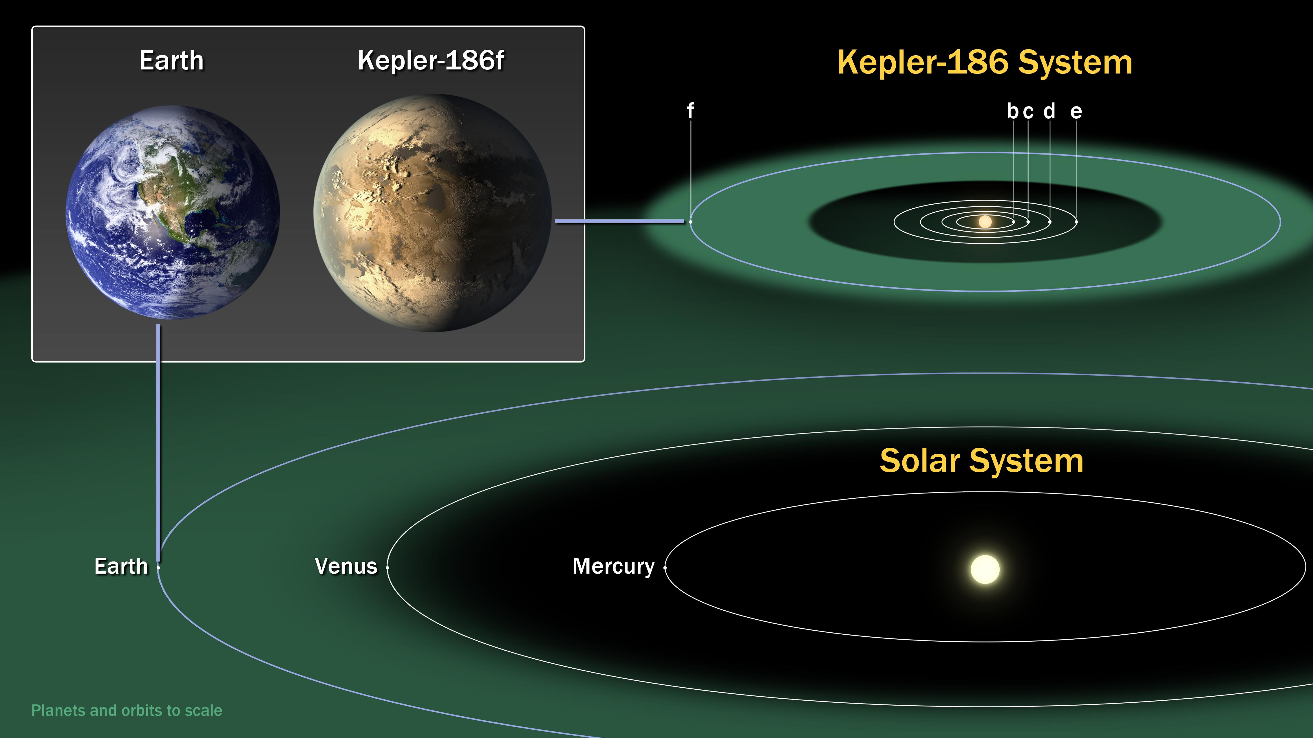This diagram compares the planets of our inner solar system to Kepler-186, a five-planet star system about 500 light-years from Earth in the constellation Cygnus. The Kepler-186 system is home to Kepler-186f, the first validated Earth-size planet orbiting a distant star in the habitable zone-a range of distance from a star where liquid water might pool on the planet's surface.  Image: NASA/Ames/SETI Institute/JPL-Caltech