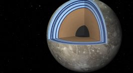 """This artist's concept of Jupiter's moon Ganymede, the largest moon in the solar system, illustrates the """"club sandwich"""" model of its interior oceans.  Credit: NASA/JPL-Caltech"""