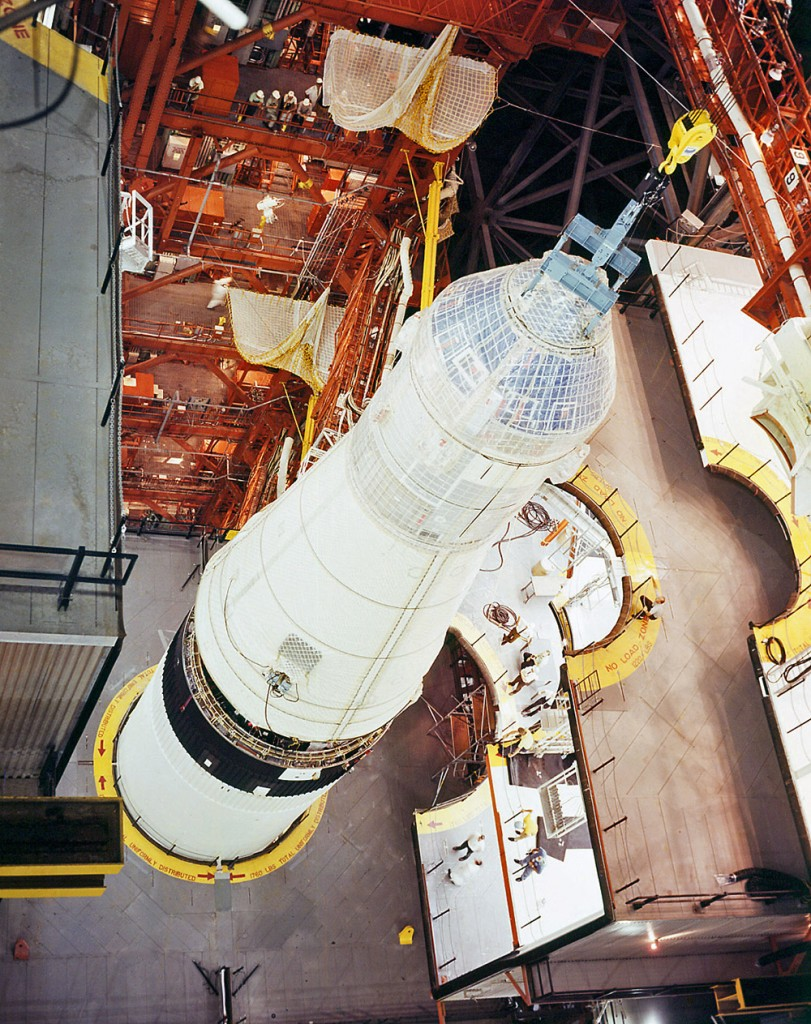 The SLA with the CSM are mated to the Saturn V inside a high bay of the VAB on May 1, 1969.