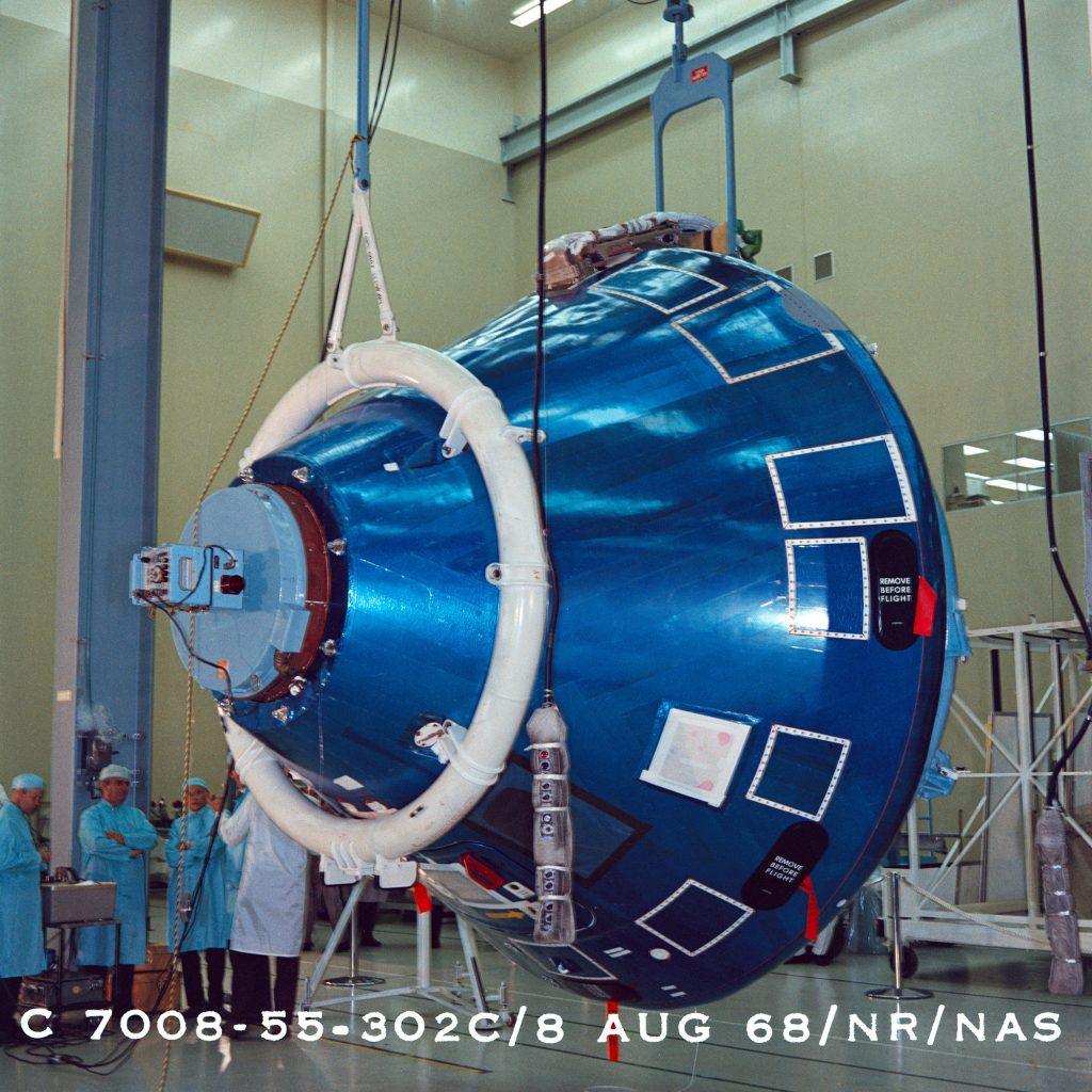 The Command Module at the Rockwell plant in Downey, Calif. on August 8, 1968 just prior to shipment to KSC.
