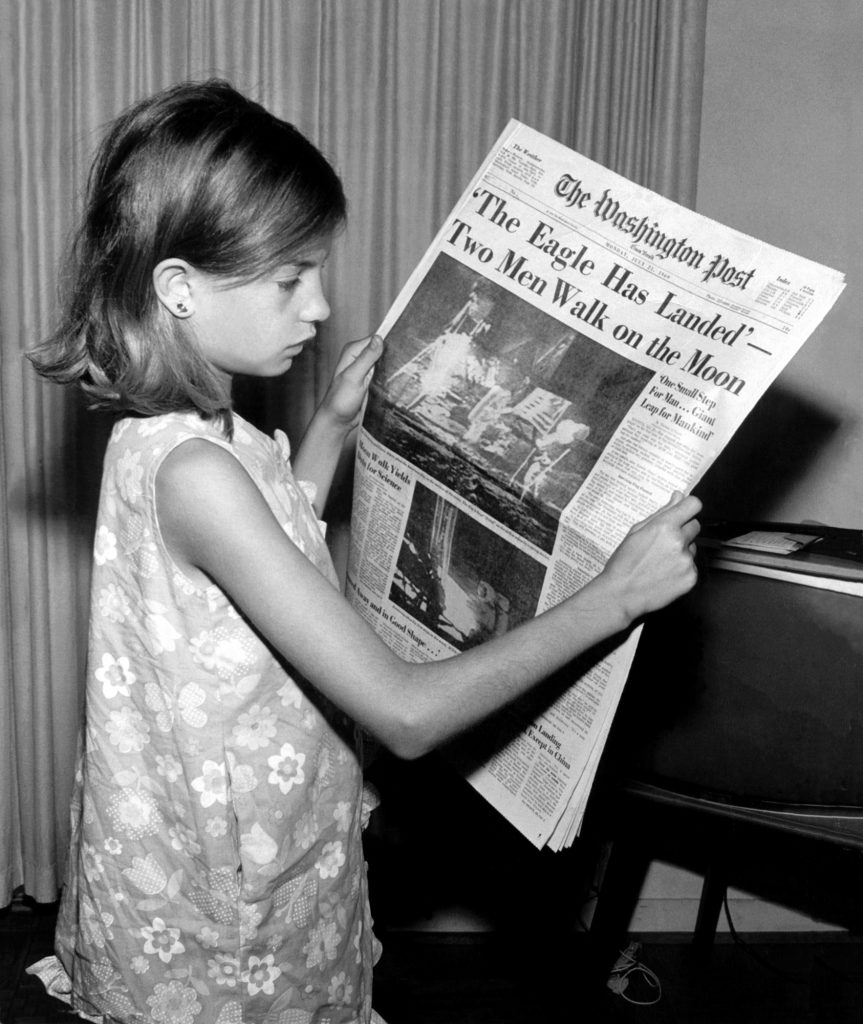 'The Eagle Has Landed' proclaims the front page of The Washington Post on July 21, 1969. Photograph taken by Jack Weir of his daughter.