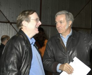 Paul Allen (left) and Burt Rutan discuss the results after a test flight of SpaceShipOne. Credit: Scaled Composites, LLC