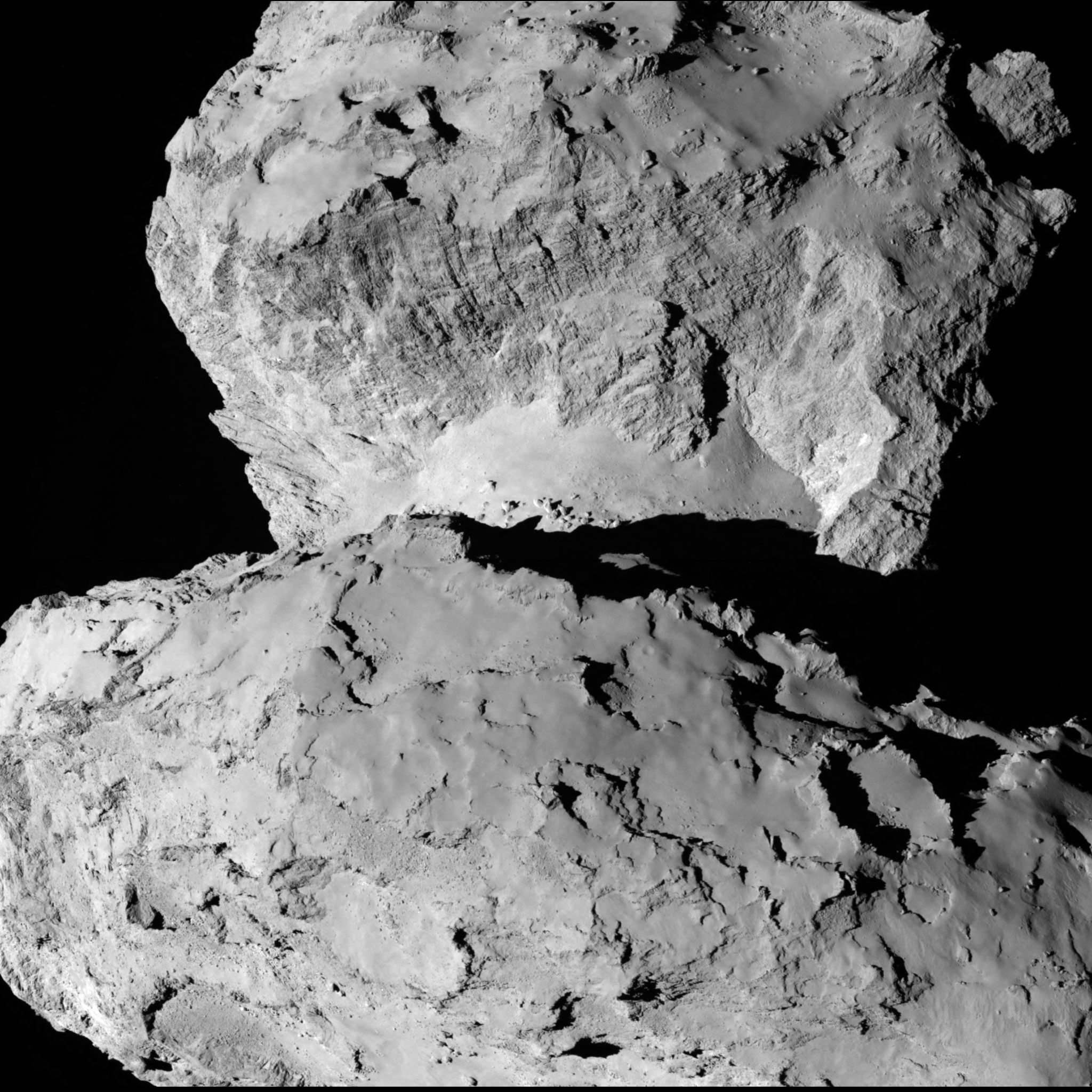 Rosetta's OSIRIS narrow angle camera captured this image of the comet on 7 August from a distance of 104 km. Credit: ESA/Rosetta/MPS for OSIRIS Team