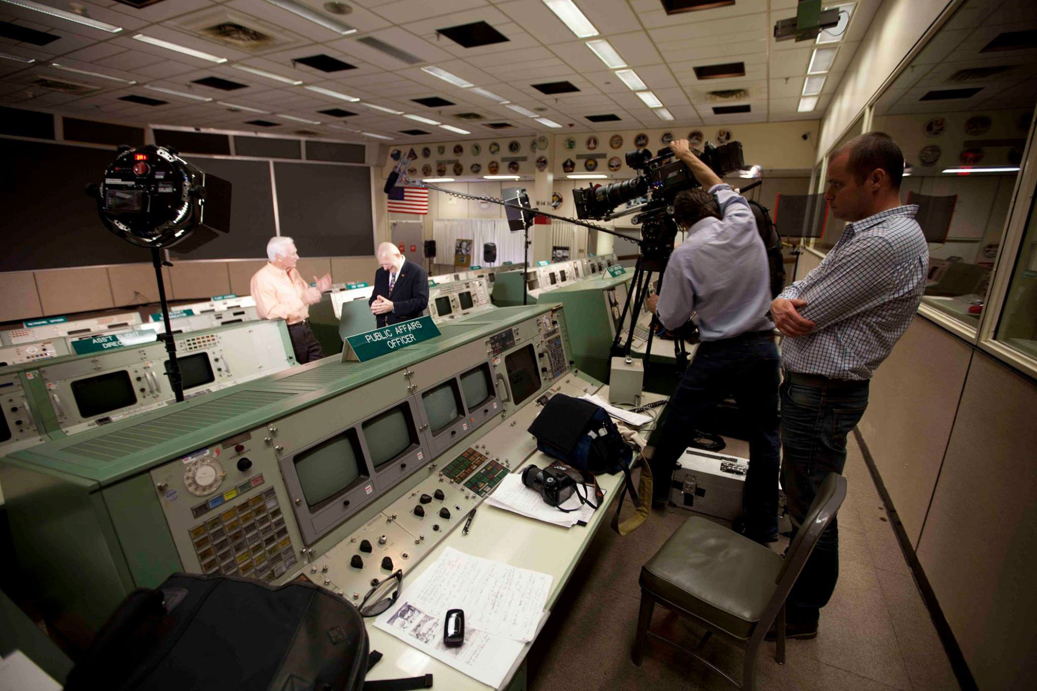 Gene Kranz and Gene Cernan filming in Mission Control Houston. Credit: Mark Stewart Productions)