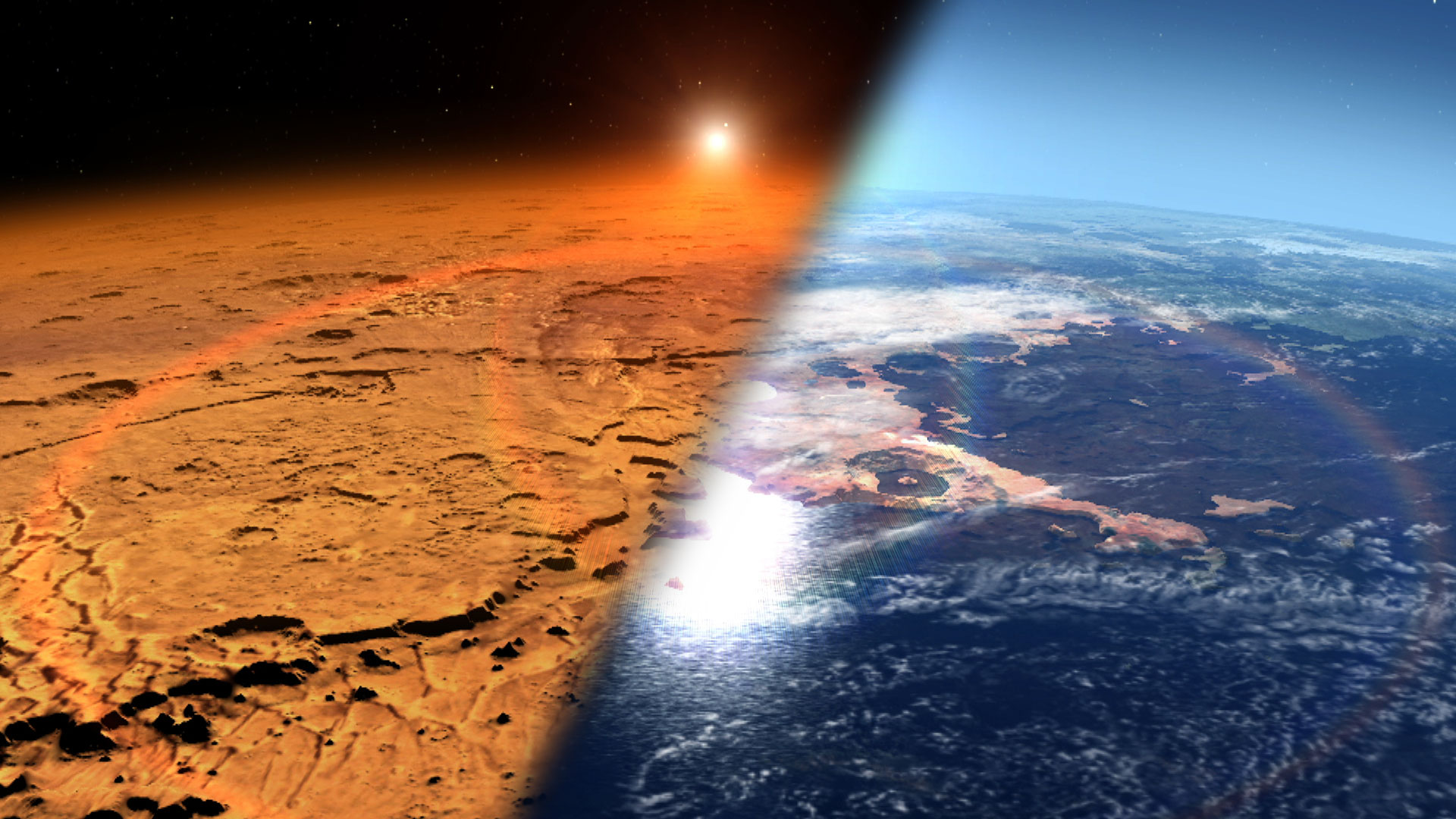 This artist's concept depicts the early Martian environment (right) – believed to contain liquid water and a thicker atmosphere – versus the cold, dry environment seen at Mars today (left). NASA's Mars Atmosphere and Volatile Evolution is in orbit of the Red Planet to study its upper atmosphere, ionosphere and interactions with the sun and solar wind. Credit: NASA's Goddard Space Flight Center