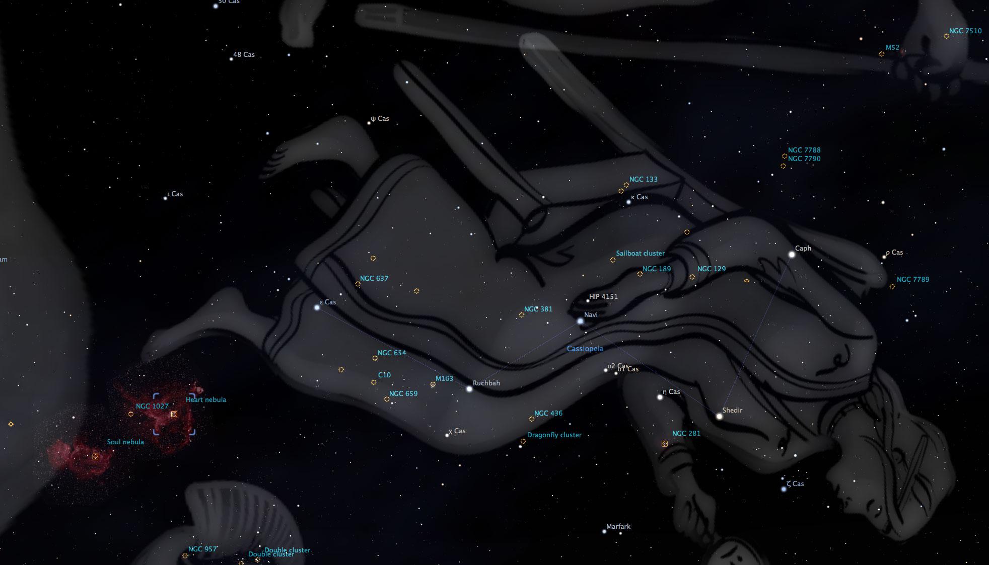 The Cassiopeia star field. Credit: Stellarium