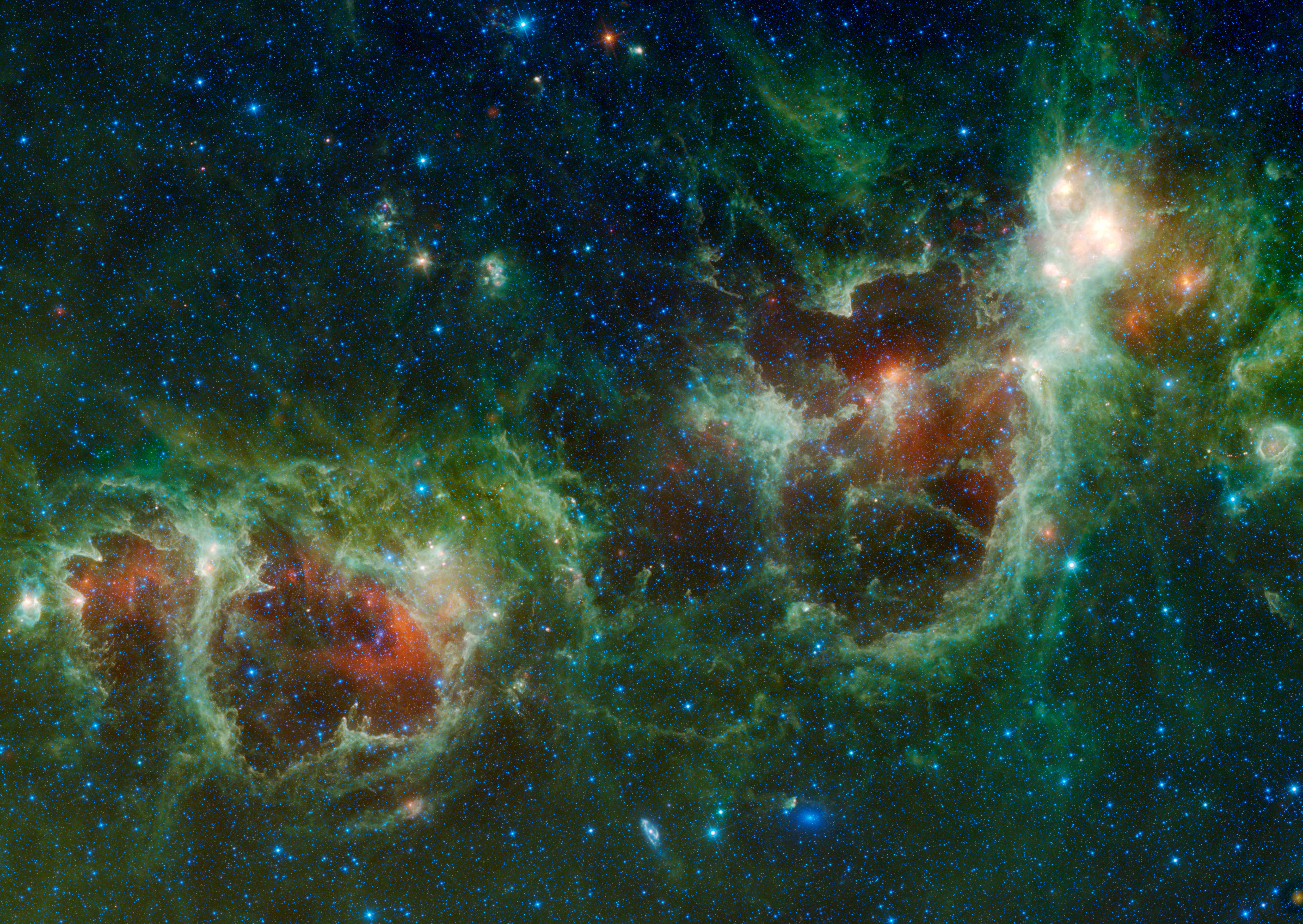 The Heart and Soul Nebulae in false colour. Credit: NASA Wise