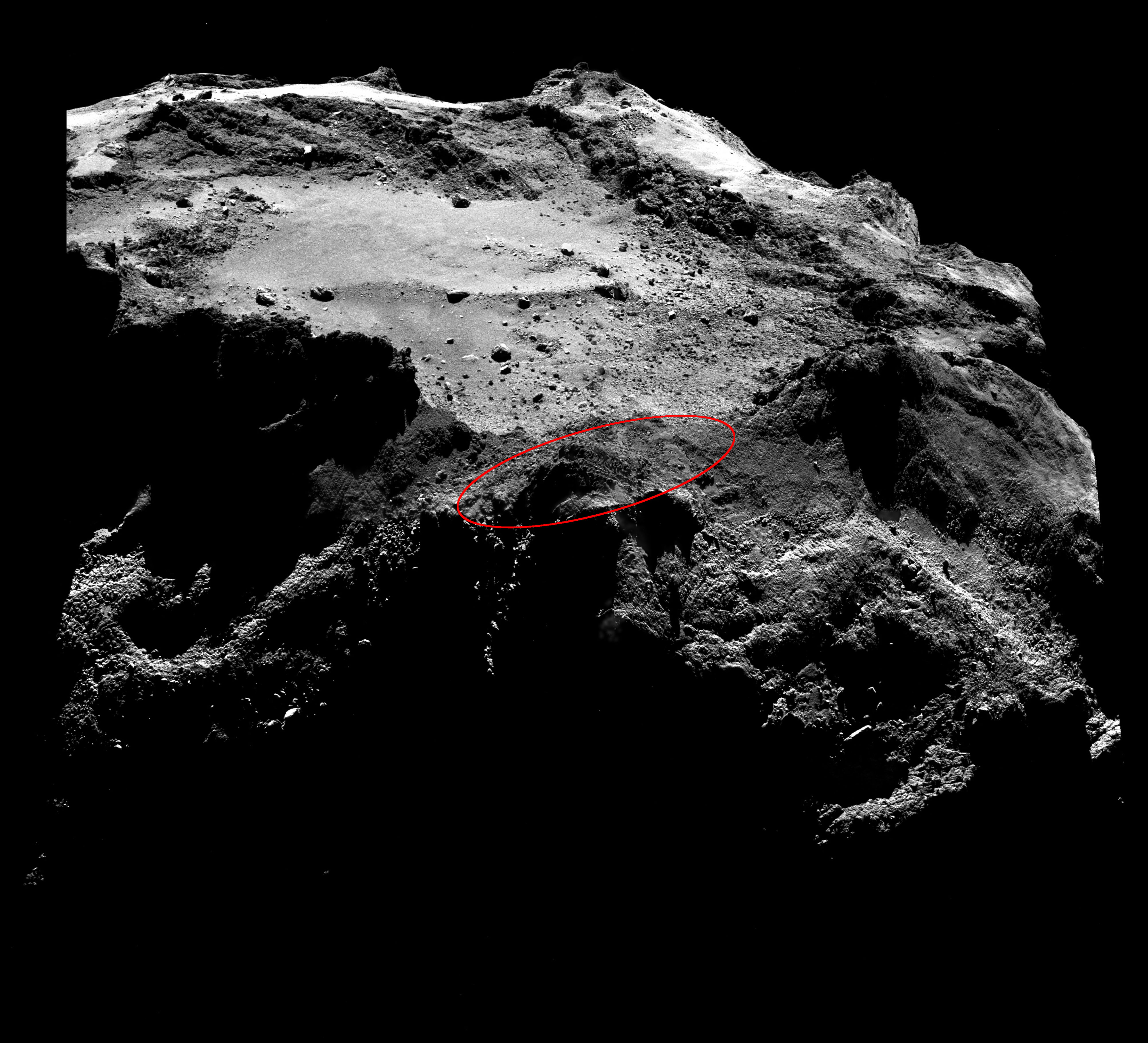 An example of the OSIRIS narrow-angle camera mosaics (below) used to search for Philae. The lander would measure only about three pixels across in these images. Credit: ESA/Rosetta/MPS for OSIRIS Team MPS/UPD/LAM/IAA/SSO/INTA/UPM/DASP/IDA