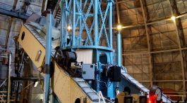 The 100 inch (2.5 m) Hooker telescope at Mount Wilson Observatory near Los Angeles, California. This is the telescope that Edwin Hubble used to measure galaxy redshifts and discover the general expansion of the universe.  Credit: Andrew Dunn