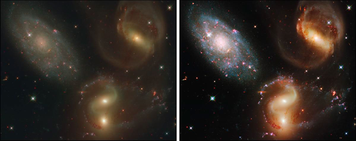 Initial color composite from HST WFC3 images of Stephan's Quintet (left) rendered in hues assigned to datasets from several separate filters. The same image is adjusted (right) to improve the contrast, tonal range, and color. Credit: STScI, OPO, Zolt Levay