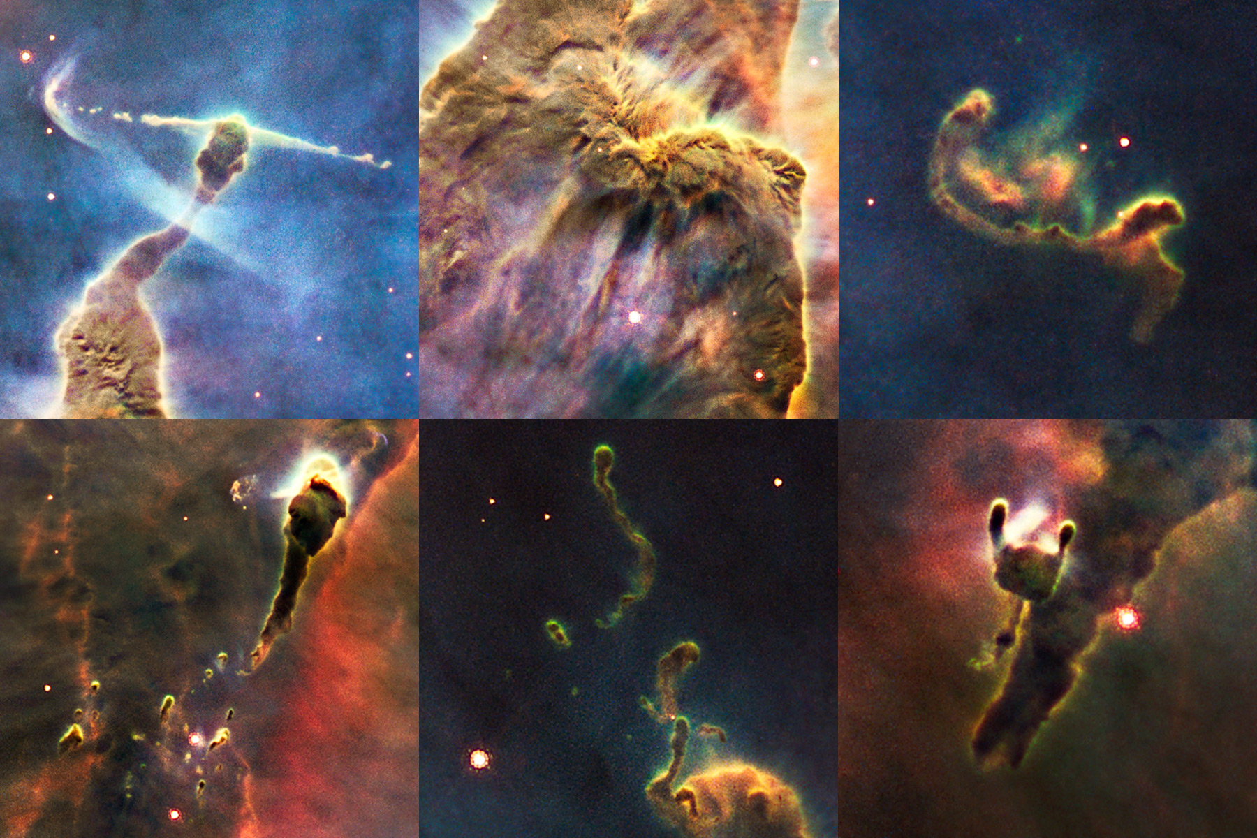This is a series of close-up views of the complex gas structures in a small portion of the Carina Nebula. The nebula is a cold cloud of predominantly hydrogen gas. It is laced with dust, which makes the cloud opaque. The cloud is being eroded by a gusher of ultraviolet light from young stars in the region. They sculpt a variety of fantasy shapes, many forming tadpole-like structures. In some frames, smaller pieces of nebulosity can be seen freely drifting, such as the structure, four trillion kilometres long, at upper right. The most striking feature is a horizontal jet 5.5 trillion kilometres long in the upper left frame. It is being blasted into space by a young star hidden in the tip of the pillar-like structure. A bowshock has formed near the tip of the jet. Credit: NASA, ESA, M. Livio and the Hubble 20th Anniversary Team (STScI)