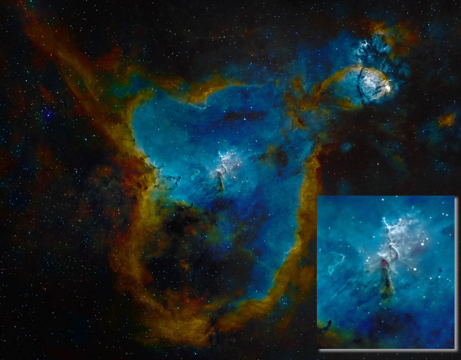 Star Cluster at the center of the Heart Nebula IC1805. Credit Dave Smith www.AstroSnaps.co.uk