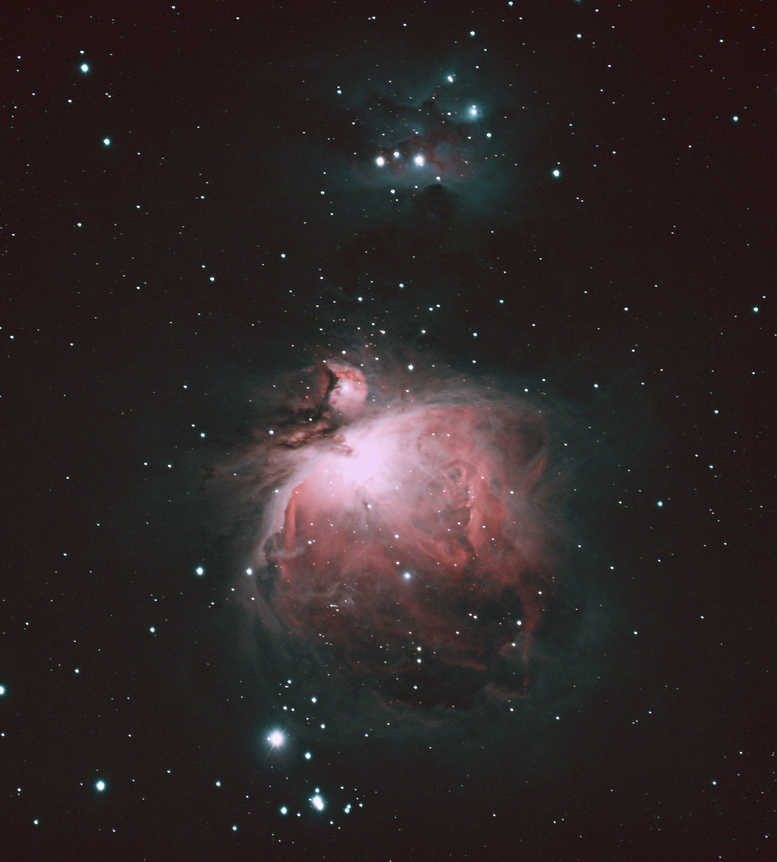 M42 the Orion Nebula. At the center of the bright area is the Trapezium Cluster. Credit: Mike Barrett