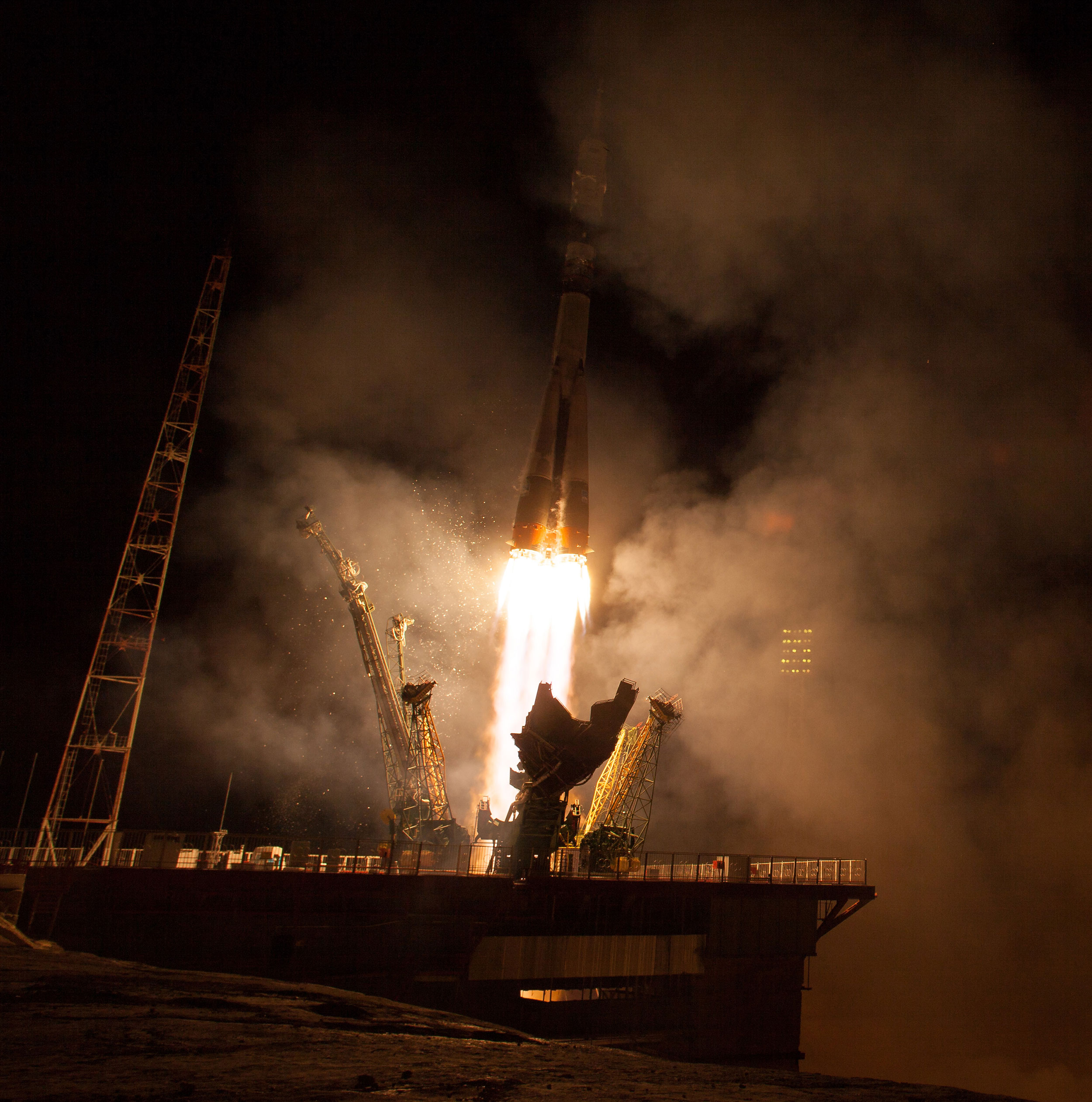 Despite recent failures of Russian rockets, the crewed version of the Soyuz has continued to be a reliable spacecraft. Here, the TMA-14M rocket launches in 2014. Credit: NASA/Aubrey Gemignani