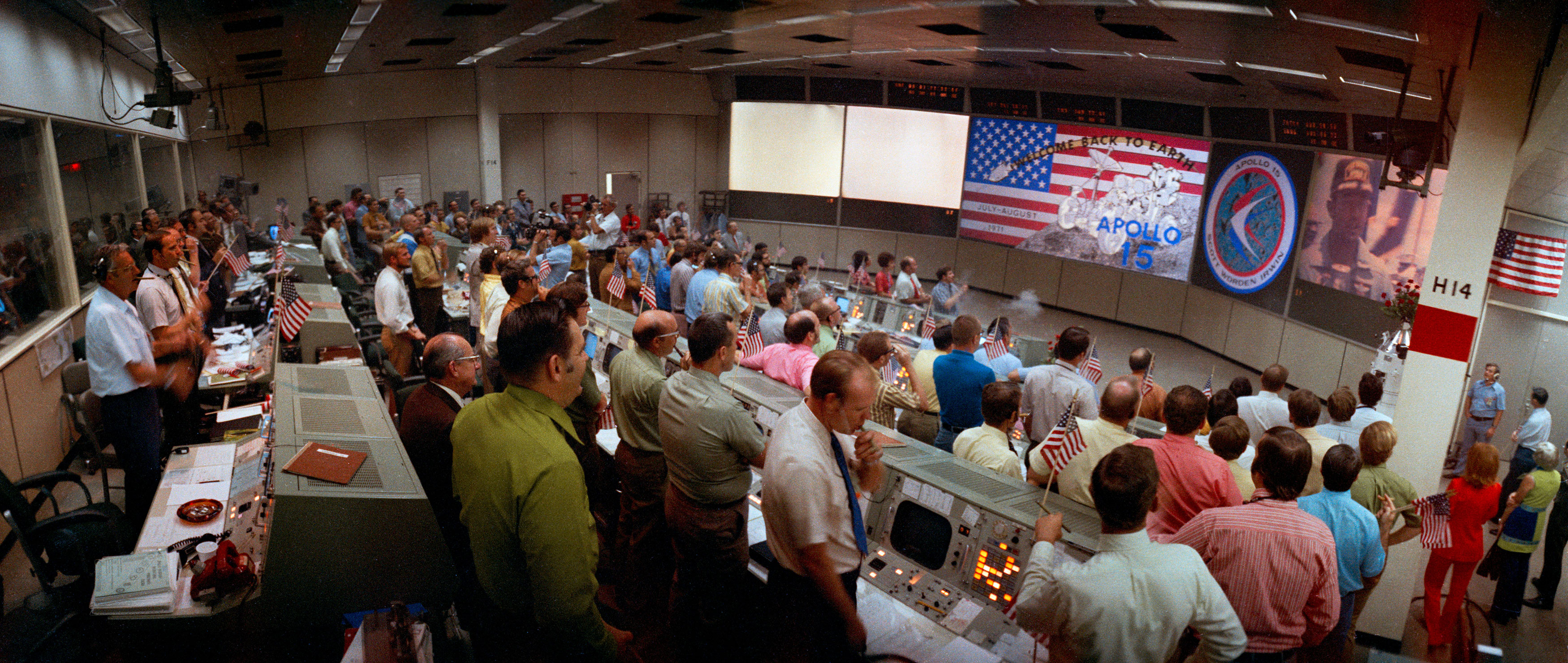 A wide-angle, overall view of the Mission Operations Control Room in the Johnson Space Center Mission Control Center taken after recovery of the Apollo 15 crew aboard the USS Okinawa. Credit: NASA via Retro Space Images