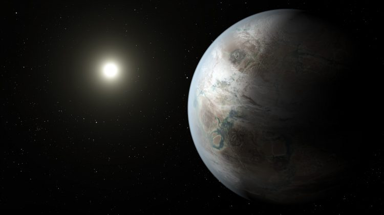 This artist's concept depicts one possible appearance of the planet Kepler-452b, the first near-Earth-size world to be found in the habitable zone of star that is similar to our sun. Kepler-452b orbits its star every 385 days. The planet's star is about 1,400 light-years away in the constellation Cygnus. It is a G2-type star like our sun, with nearly the same temperature and mass. This star is 6 billion years old, 1.5 billion years older than our sun. Credit: NASA Ames/JPL-Caltech/T. Pyle