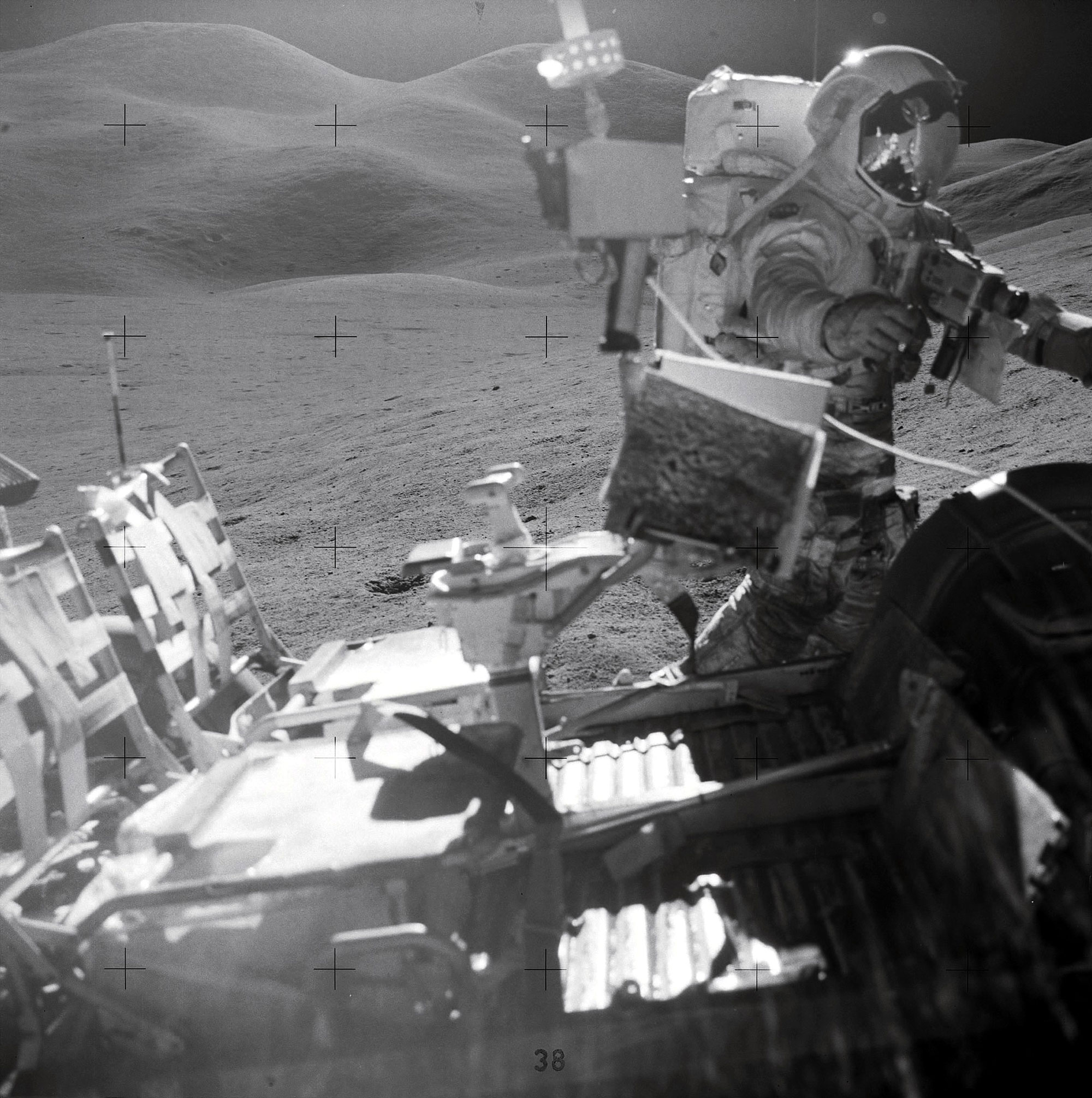 During EVA 2, Irwin and Scott collected rock and soil samples, a core sample, and trench samples of an area about 5 km southeast of the Lunar Module. Credit: NASA via Retro Space Images