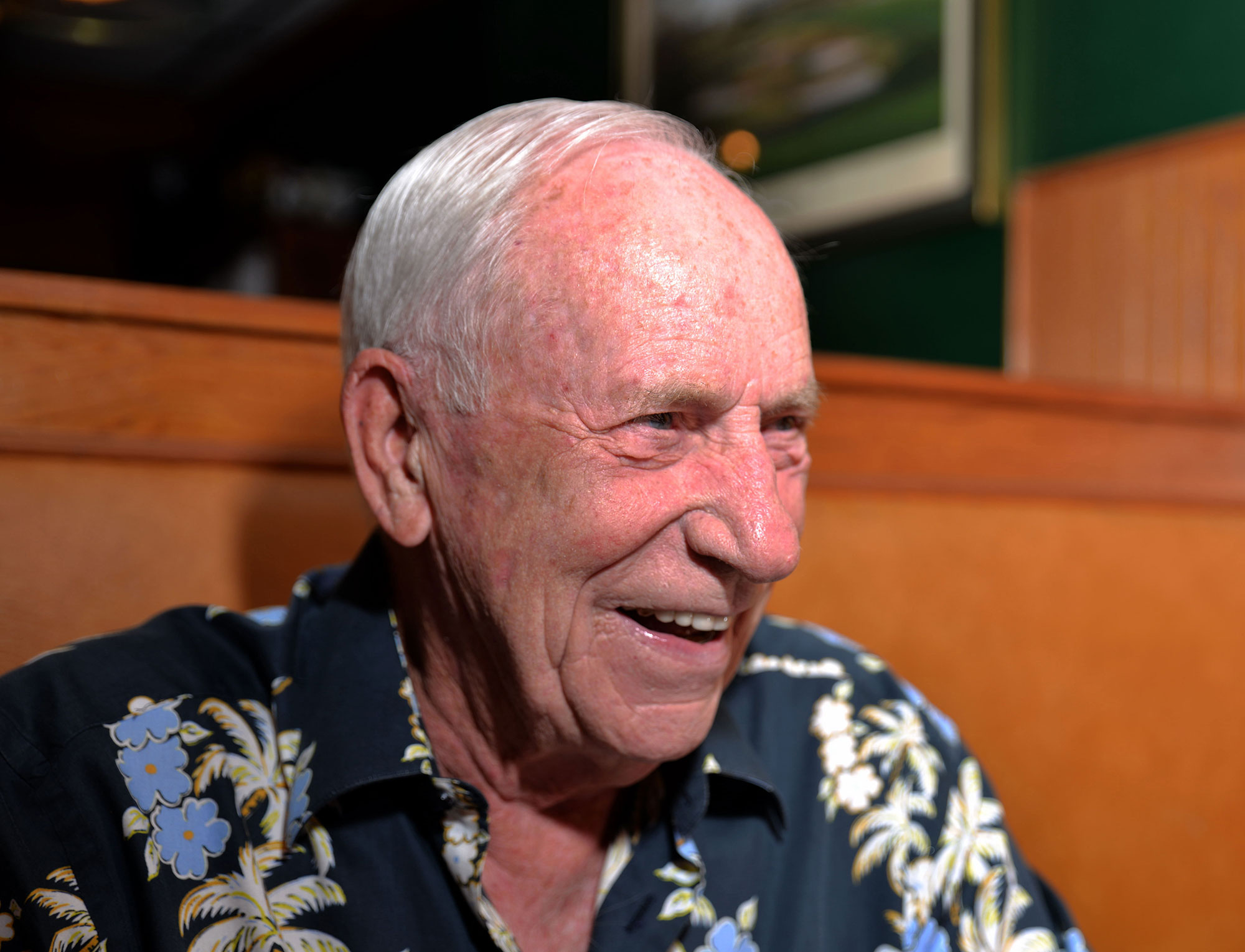 Al Worden enjoys a good Hawaiian print shirt almost as much as he loves a good laugh. Humor is a charming staple of his personality. Credit: Julian Leek
