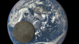 This image shows the far side of the moon, illuminated by the sun, as it crosses between the DSCOVR spacecraft's Earth Polychromatic Imaging Camera (EPIC) camera and telescope, and the Earth - one million miles away. Credit: NASA/NOAA