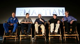 "NASA astronaut Drew Feustel, left, actor Matt Damon, film director Ridley Scott, author Andy Weir, and NASA Director of the Planetary Science,  Jim Green, participate in a question and answer session about NASA's journey to Mars and the film ""The Martian,"" Tuesday, Aug. 18, 2015, at the United Artist Theater in La Cañada Flintridge, California. NASA scientists and engineers served as technical consultants on the film. The movie portrays a realistic view of the climate and topography of Mars, based on NASA data, and some of the challenges NASA faces as we prepare for human exploration of the Red Planet in the 2030s. Credit: NASA/Bill Ingalls"