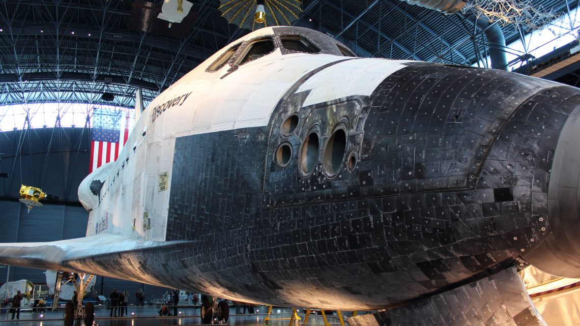 Space Shuttle Discovery on display in the James S. McDonnell Space Hangar in the Steven F. Udvar-Hazy Center. Credit: Lloyd Campbell