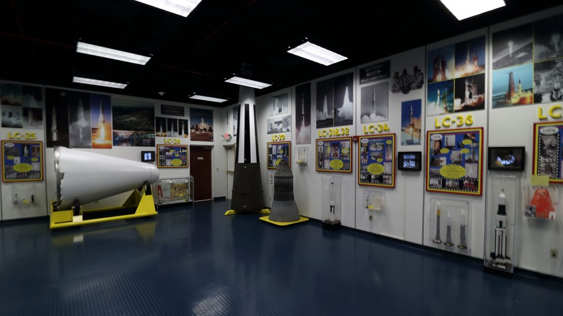 There are many artifacts on display at the Air Force Space & Missile History Center, including a white Jupiter rocket nose cone. Credit: Lloyd Campbell