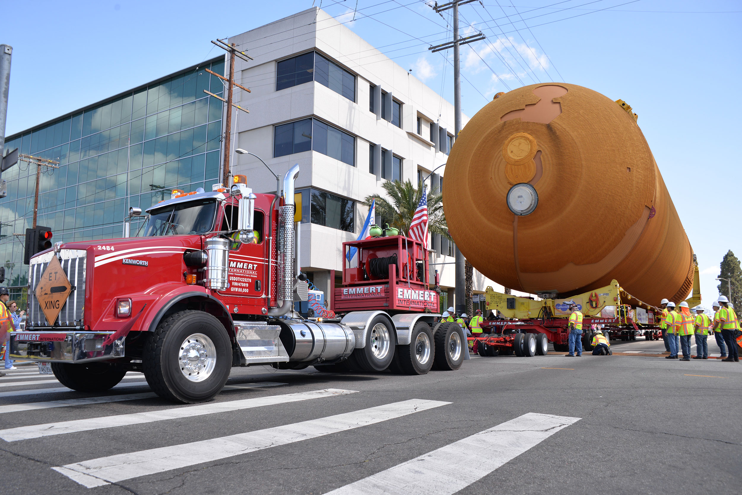 ET-94 was the main attraction during its parade to the California Science Center. The External Tank will eventually be mated with Space Shuttle Endeavour and displayed in a vertical, lauch-ready configuration. Credit: Julian Leek/JNN