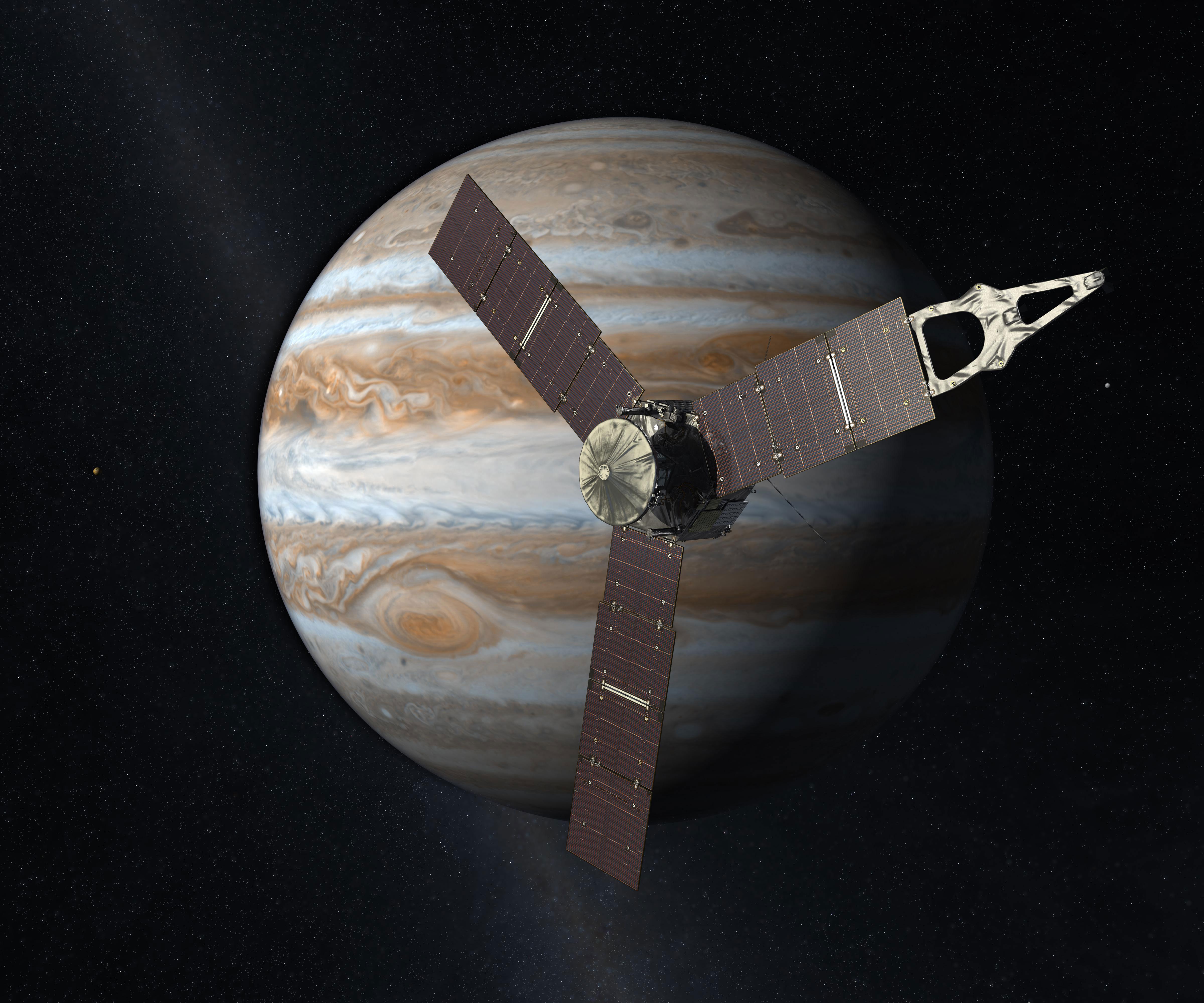 Artist rendering of Juno in orbit of Jupiter. Credit: NASA/JPL/Caltech