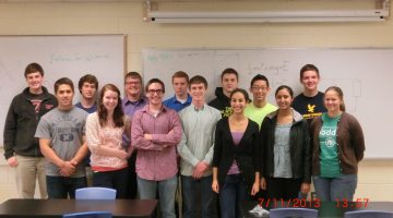 The afternoon Engineering/Physics Class of Governor's School for Science and Technology has been working on creating a hardware that would function as a local oxygen source in micro gravity using electrolysis. Pictured are, Second Row [from left]: Bobby Smyth, Danny McNamara, Richard Kazmer, Scot Mackenzie, Ben Cratsley, Sam Kim, Brady Reisch. First Row [from left]: Justin Cloutier, Katie Jordan, William Archer, Stephen Haggard, Sarah Selim, Manisha Iruvanti, Bethany Wissmann