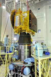 The MOM spacecraft is being integrated to the fourth stage of its rocket. Photo: ISRO