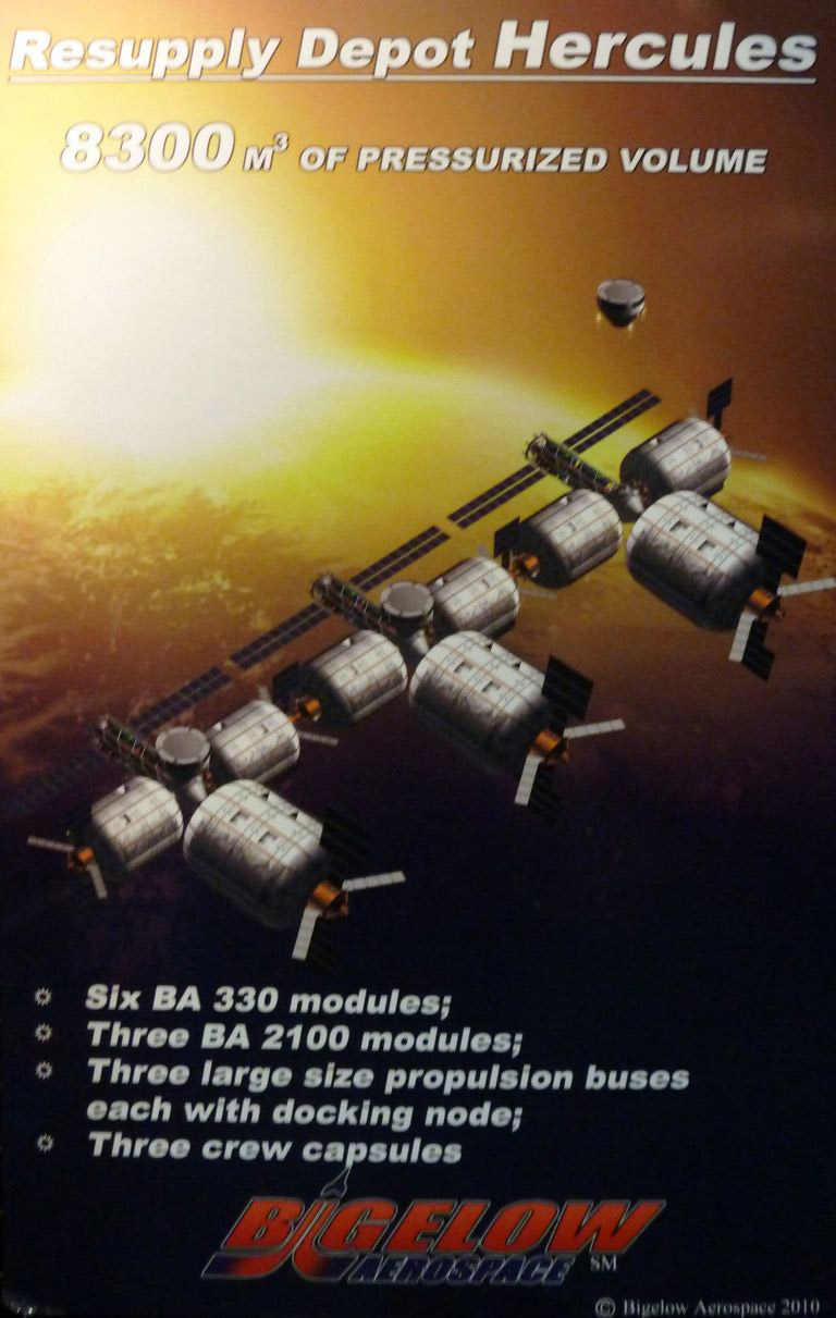 An artist representation of the Hercule Resupply Depot.  Image: Bigelow Aerospace