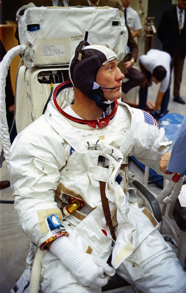 Edwin 'Buzz' Aldrin suited up for a simulation at the MSC in Texas on April 18, 1969.