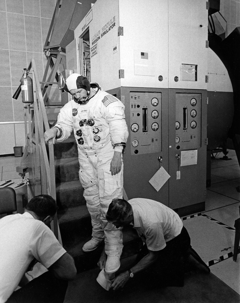 Neil Armstrong preparing to enter the LM simulator on June 16, 1969.