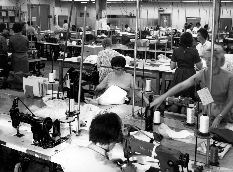 ILC seamstresses at work on the Apollo spacesuits. Credit: MIT Press