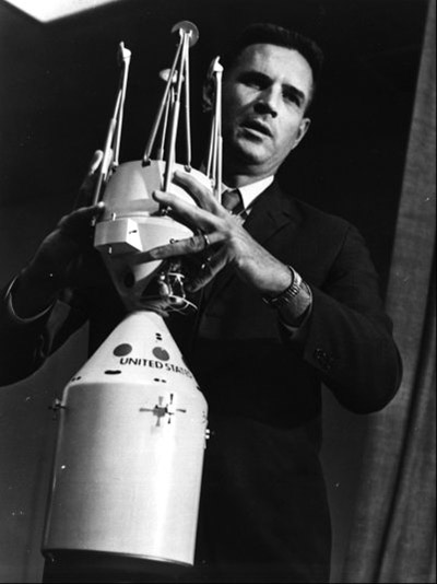 Joe Shea demonstrating the docking between the Apollo Lunar and Command Modules. Credit: NASA