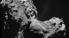 Four-image NAVCAM mosaic of Comet 67P/Churyumov-Gerasimenko, using images taken on 19 September 2014 when Rosetta was 28.6 km from the comet.  Credit: ESA/Rosetta/NAVCAM