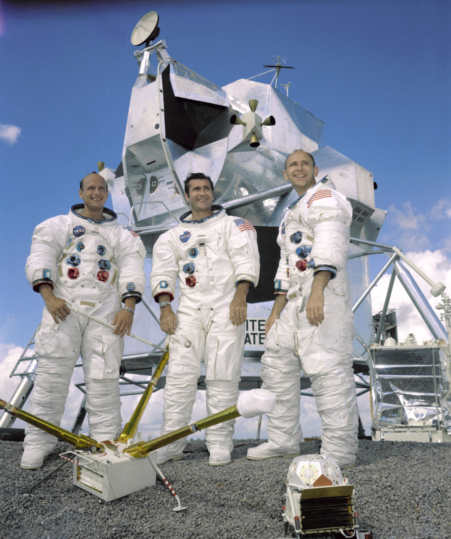 "Crew of the Apollo 12 mission (from left): Charles ""Pete"" Conrad Jr., Richard Gordon Jr., and Alan Bean. Credit: NASA"