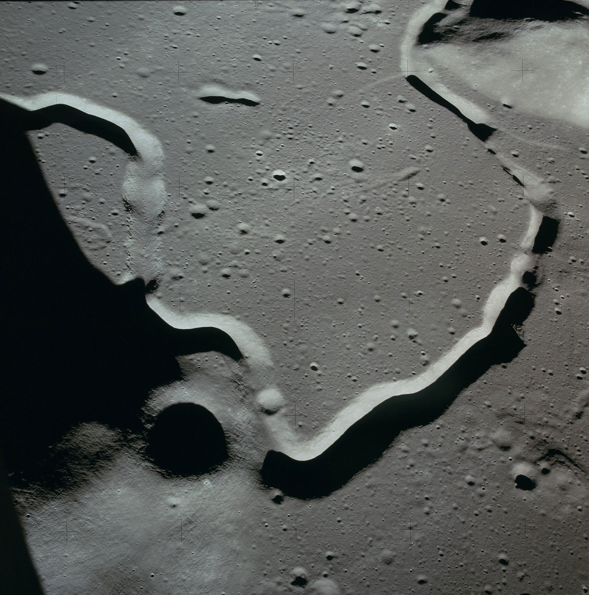 Hadley Rille as seen from orbit during the Apollo 15 mission. Credit: NASA via Retro Space Images