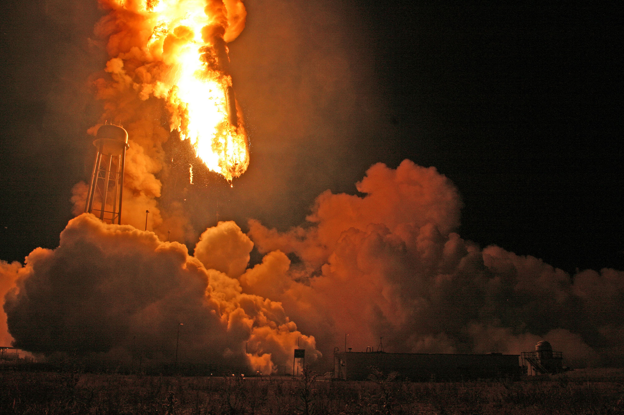 An Orbital Sciences Antares rocket descended into hellish inferno after the first stage propulsion system exploded moments after liftoff from the NASA's Wallops Flight Facility along the Atlantic seaboard in Virginia. Credit: Ken Kremer