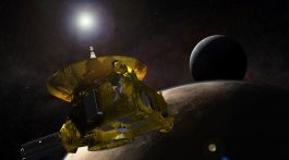 Artist's concept of the New Horizons spacecraft encountering Pluto and its largest moon, Charon, in 2015. Credit: Johns Hopkins University Applied Physics Laboratory/Southwest Research Institute (JHUAPL/SwRI)