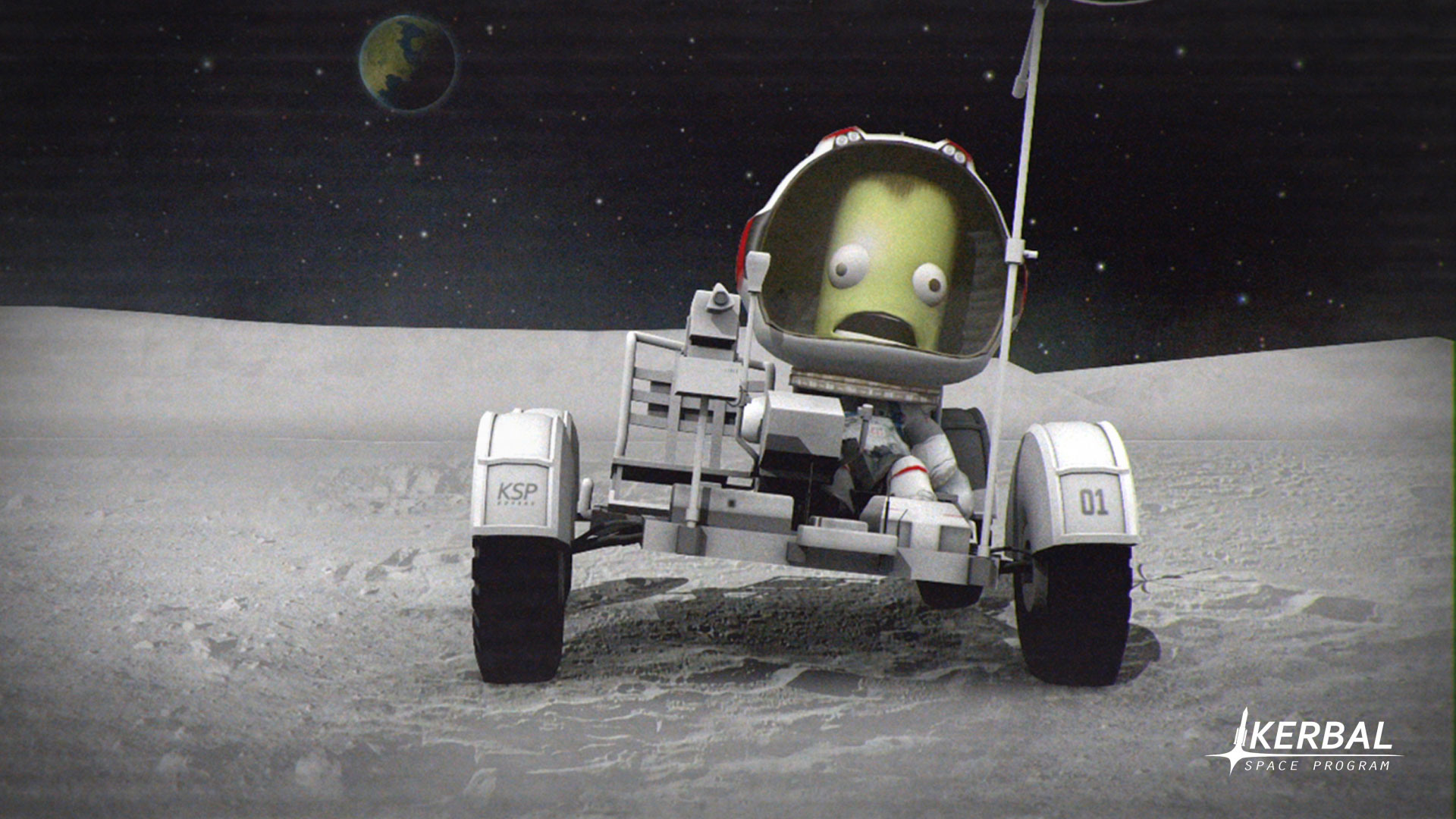 Like Earth's astronauts, Kerbals enjoy driving around in their shiny new lunar rover. Credit: Squad, Monkey Squad S.A de C.V.
