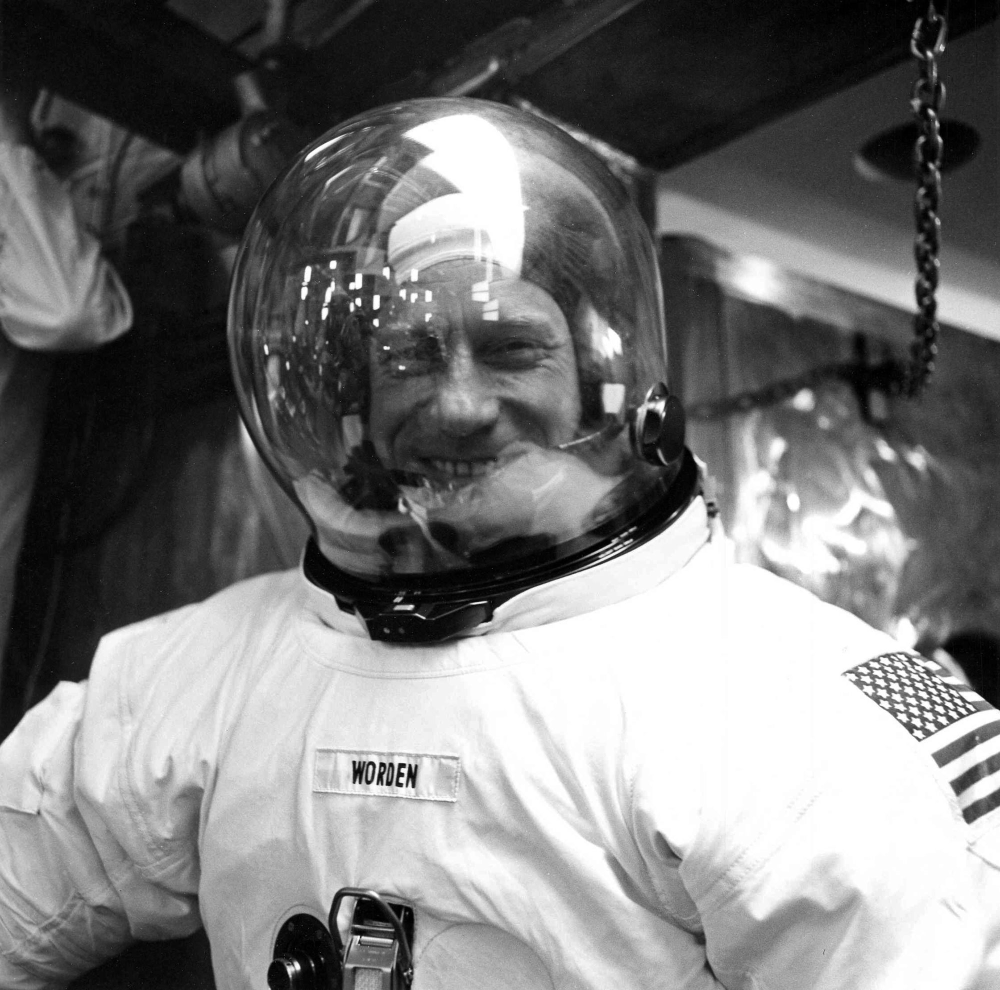 Worden suits up in preparation for a pressure chamber test on April 5, 1971 as part of his training for the Apollo 15 mission. Credit: NASA via Retro Space Images